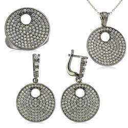 Gumush - Gümüş Zirkon Taşlı Yuvarlak Bayan Set