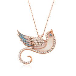 Gumush - Gümüş Zümrüdü Anka Kuşu Bayan Kolye