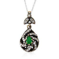 Gumush - Gümüş Yeşil Otantik Bayan Kolye