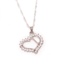 Gumush - Gümüş I Harf Kalpli Bayan Kolye