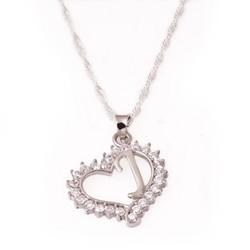 Gumush - Gümüş J Harf Kalpli Bayan Kolye