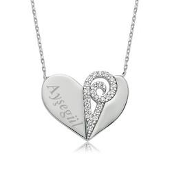 Gumush - Gümüş İsimli Kalp Bayan Kolye
