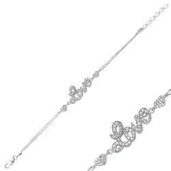 Gumush - Gümüş Kalpli Love Yazılı Bayan Bileklik