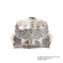 Gumush - Karanfil ve Papatya Desenli Gümüş Boller