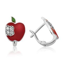 Gumush - Gümüş Kırmızı Elma Çoçuk Küpesi