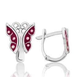 Gumush - Gümüş Kırmızı Kelebek Çocuk Küpesi