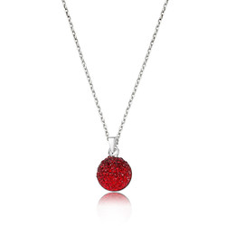 Gumush - Gümüş Kırmızı Kristal Taşlı Bayan Kolye