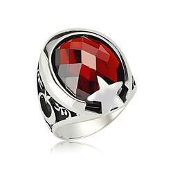Gumush - Gümüş Kırmızı Taşlı Ay Yıldız Erkek Yüzük
