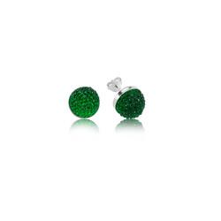 Gumush - Gümüş Yeşil Kristal Çivili Küpe