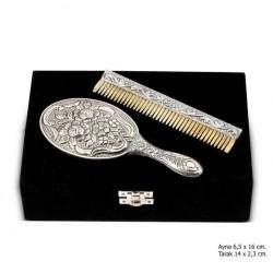 Gumush - Manolya Motifli Ayna Tarak Gümüş Set