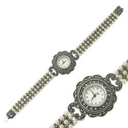 Gumush - Gümüş Markazit Taşlı Bayan Saat (1)