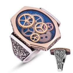 Gumush - Gümüş Mavi Saat Çarkı Erkek Yüzük