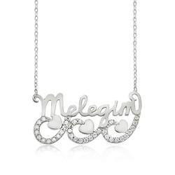 Gumush - Gümüş Meleğim Yazılı Kalpli Bayan Kolye