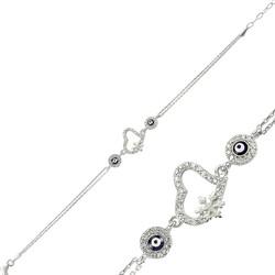 Gumush - Gümüş Nazarlı Kar Tanesi Kalp Bileklik
