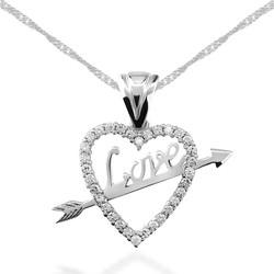 Gumush - Gümüş Love Oklu Kalp Bayan Kolye