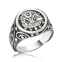 Gumush - Osmanlı Armalı Gümüş Erkek Yüzük