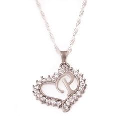 Gumush - Gümüş P Harf Kalpli Bayan Kolye