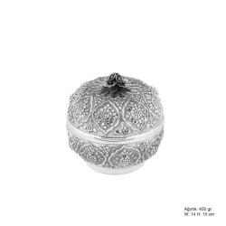 Gumush - Papatya Desenli Gümüş Bonbonyer