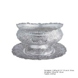 Gumush - Papatya Desenli Oval Gümüş Boller