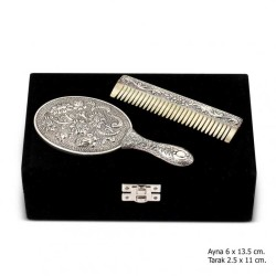 Gumush - Papatya Motifli Ayna Tarak Gümüş Set