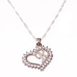 Gumush - Gümüş R Harfi Kalpli Bayan Kolye