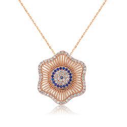 Gumush - Gümüş Nazarlı Çiçek Bayan Kolye