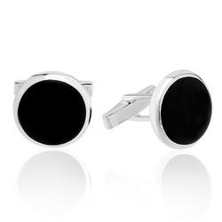 Gumush - Gümüş Yuvarlak Siyah Taşlı Kol Düğmesi