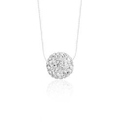 Gumush - Gümüş Kristal Taşlı Top Bayan Kolye