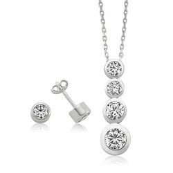 Gumush - Gümüş Tek Taş Bayan Set