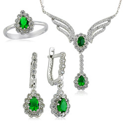 Gumush - Gümüş Yeşil Taşlı Kanat Bayan Set