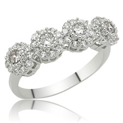 Gumush - Gümüş Çiçekli 5 Taş Bayan Yüzük