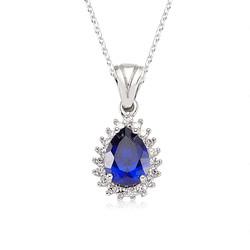 Gumush - Gümüş Mavi Damla Bayan Kolye