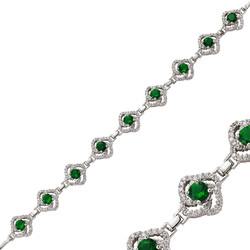 Gumush - Gümüş Yeşil Taşlı Çiçek Bayan Bileklik