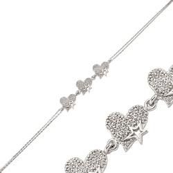 Gumush - Gümüş Üç Kalpli Bayan Bileklik