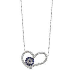 Gumush - Gümüş Nazarlı Kalp Bayan Kolye