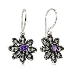 Gumush - Gümüş Mor Taşlı Çiçek Küpe