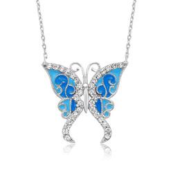 Gumush - Gümüş Mavi Kelebek Bayan Kolye