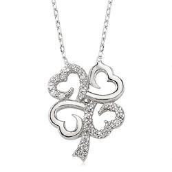 Gumush - Gümüş Dört Yapraklı Yonca Bayan Kolye