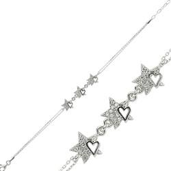 Gumush - Gümüş Kalpli Yıldız Bayan Bileklik