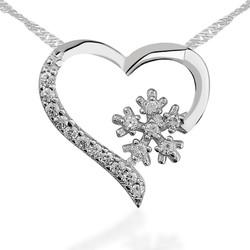 Gumush - Gümüş Kar Tanesi Kalp Bayan Kolye