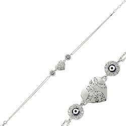 Gumush - Gümüş Nazarlı Kalp Bayan Bileklik