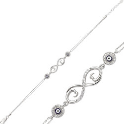 Gumush - Gümüş Nazarlı Sonsuzluk Bayan Bileklik