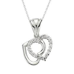 Gumush - Gümüş Çift Kalpli Bayan Kolye