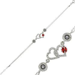 Gumush - Gümüş Uğur Böcekli Kalp Nazar Bayan Bileklik