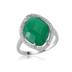 Gumush - Gümüş Yeşil Taşlı Bayan Yüzük