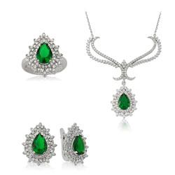 Gumush - Gümüş Yeşil Taşlı Bayan Set