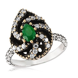 Gumush - Gümüş Yeşil Otantik Bayan Yüzük